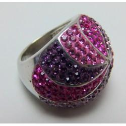 Srebrny pierścionek z różowymi kryształkami P9