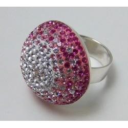Pierścionek z różowymi kryształkami P10