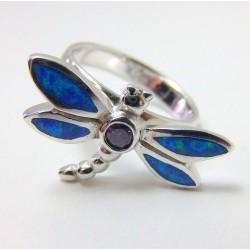 Srebrny pierścionek z opalem ważka P27