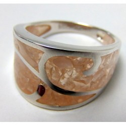 Pierścionek z jasno różowym kwarcem P31