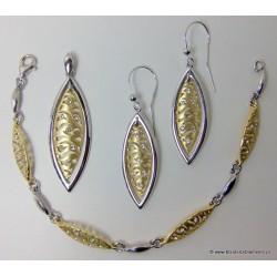 Biżuteria pozłacana. Srebrny komplet łezki KY57