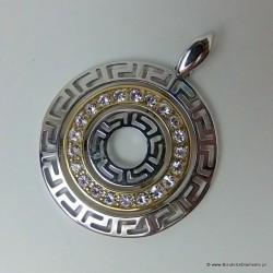 Srebrny wisiorek pozłacany z greckim wzorem Z72