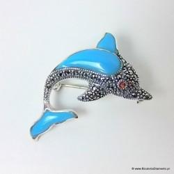 Delfin z turkusem oraz markazytami. Broszko wisiorek.