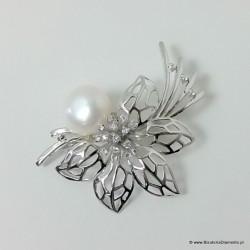 Piękna broszka z perłą i cyrkoniami BR15