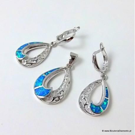 Ażurowy komplet biżuterii z opalem