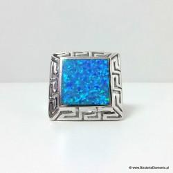Pierścionek z greckim wzorem - opal