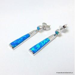 Srebrne kolczyki z niebieskim opalem KO178