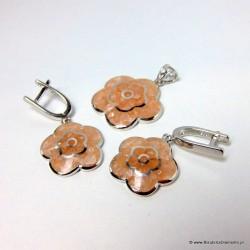 Piękny komplet biżuterii z kwarcem KY78