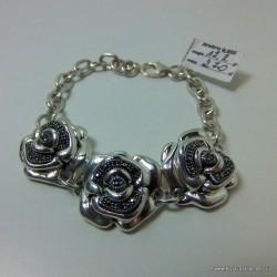 Srebrna bransoleta z różami wysadzona markazytami B63