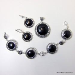 Biżuteria srebrna z onyksem. Komplet KY79