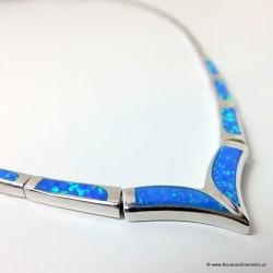 Naszyjnik z niebieskim opalem KO128