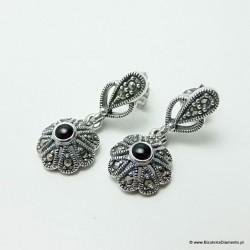Kolczyki ze srebra z onyksem i markazytami K34