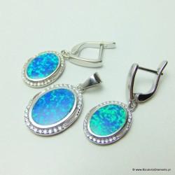 Komplet biżuterii z opalem i cyrkoniami KO233