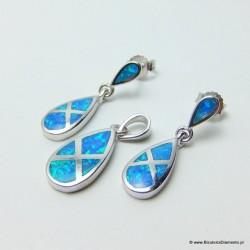 Komplet biżuterii - łezki z opalem KO234