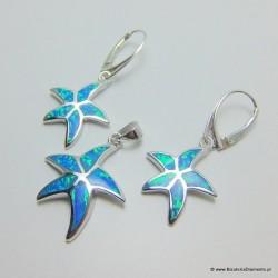 Srebrne rozgwiazdy komplet z opalami