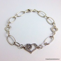 Bransoletka ze srebra z sercem