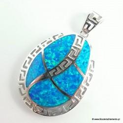 Duży wisiorek srebrny z opalem i greckim wzorem