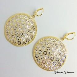 Duże okrągłe kolczyki ażurowe srebro złocone