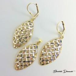 Komplet biżuterii złoconej łezki KY106