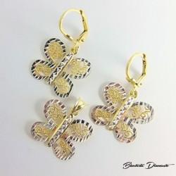 Komplecik złocony wisiorek oraz kolczyki motylki