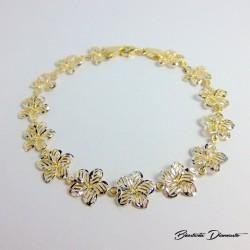 Bransoletka złocona kwiatki