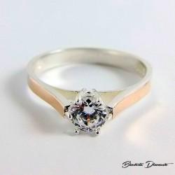 Srebrny pierścionek ze złotem próby 333