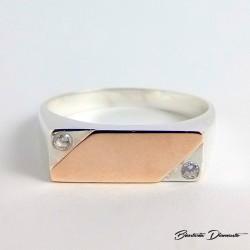 Sygnet prostokątny srebro połączone ze złotem