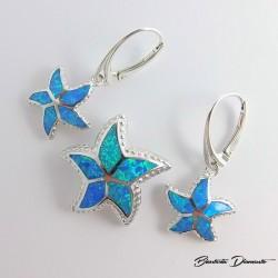 Komplet biżuterii z opalami w kształcie rozgwiazdy