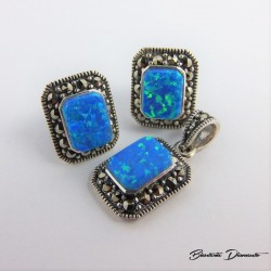 Prostokątny komplet biżuterii z opalem i markazytami