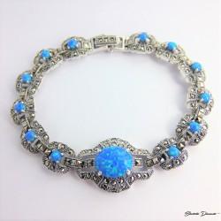 Srebrna bransoletka pr. 925 z niebieskim opalem