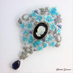 Piękny broszko wisior Dama Kamea
