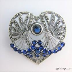Broszko wisior w kształcie serca z niebieskimi cyrkoniami