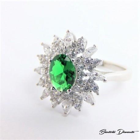 Pierścionek z zieloną cyrkonią P63