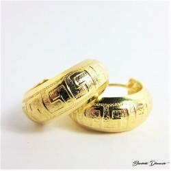 Szerokie koła z greckim wzorkiem. Kolczyki złocone
