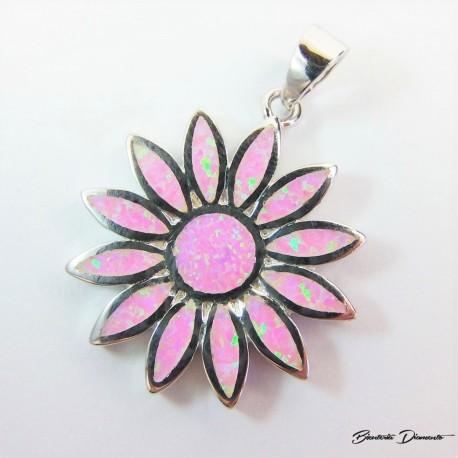 Wisiorek w kształcie słonecznika z różowym opalem