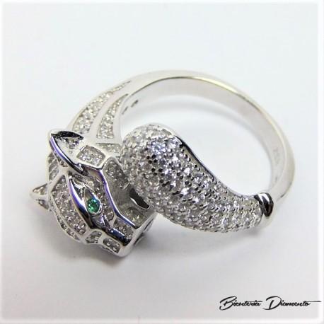 Pierścionek srebrny panterka z cyrkoniami.