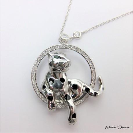 Panterka naszyjnik srebrny z długim łańcuszkiem.
