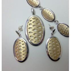 Komplet srebrny pr. 925 złocony KY14