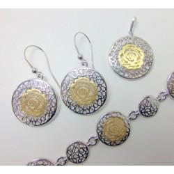Komplet srebrny pr. 925 złocony KY15