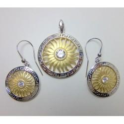 Wisior i kolczyki srebrne pr. 925 złocone KY19