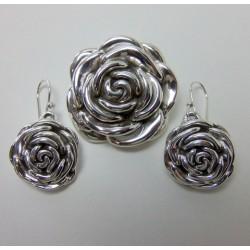 Komplet srebrny różyczki KY36