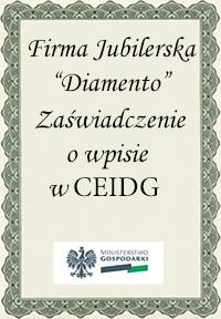 Certyfikat przyznany firmie jubilerskiej Diamento